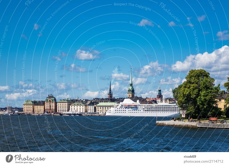 View of the Swedish capital Stockholm Relaxation Vacation & Travel Tourism House (Residential Structure) Clouds Coast Baltic Sea Town Capital city Building