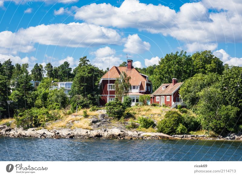 Archipelago on the Swedish Baltic Sea coast off Stockholm Relaxation Vacation & Travel Tourism Island House (Residential Structure) Nature Landscape Clouds Tree