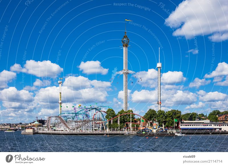 Gröna Lund amusement park in Stockholm Relaxation Vacation & Travel Tourism Fairs & Carnivals Clouds Coast Baltic Sea Town Capital city Tower Architecture
