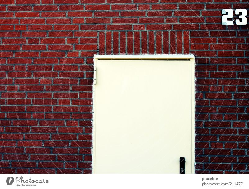 White Red House (Residential Structure) Wall (building) Stone Wall (barrier) Building Door Facade Closed Digits and numbers Sign Brick Entrance Way out Copy Space