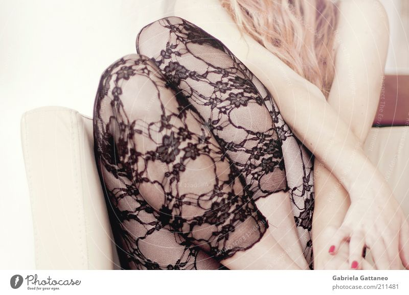 she swears in Beautiful Feminine Young woman Youth (Young adults) Skin Hair and hairstyles Legs 1 Human being Fashion Stockings Blonde Long-haired Eroticism
