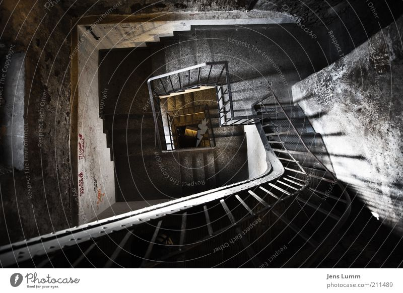 Stairway Stairs Old Dark Fear Perspective Handrail Spiral Deep Vignetting Winding staircase Tower Shadow Wide angle vertigo Colour photo Interior shot Deserted