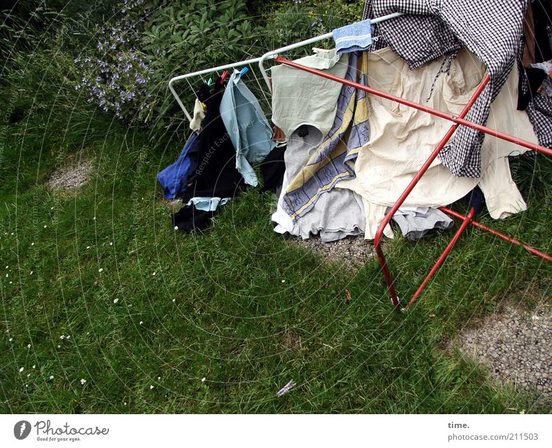 Clothing Lawn Lie Pure Cleaning Washing Laundry Textiles Dry Hang up Adversity Washing day Topple over Cotheshorse