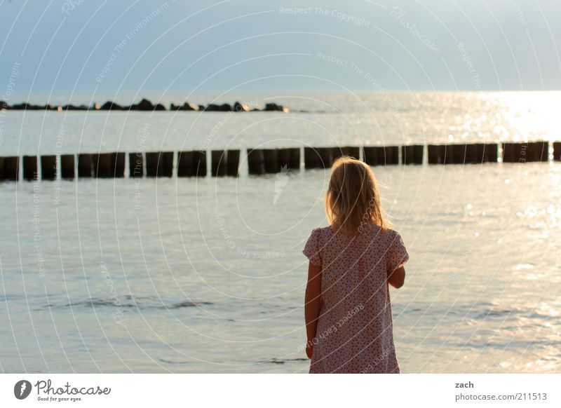 Human being Child Nature Water Blue Girl Summer Ocean Beach Loneliness Freedom Coast Stone Dream Horizon Infancy