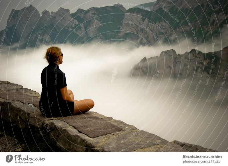 Woman Human being Youth (Young adults) Loneliness Calm Adults Relaxation Feminine Mountain Wall (barrier) Contentment Rock Sit Trip Meditative 18 - 30 years