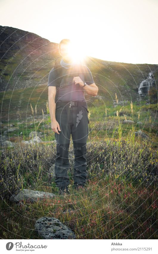 sun god Vacation & Travel Adventure Far-off places Mountain Hiking Young man Youth (Young adults) Nature Sun Grass Slope Lapland Relaxation Illuminate Moody