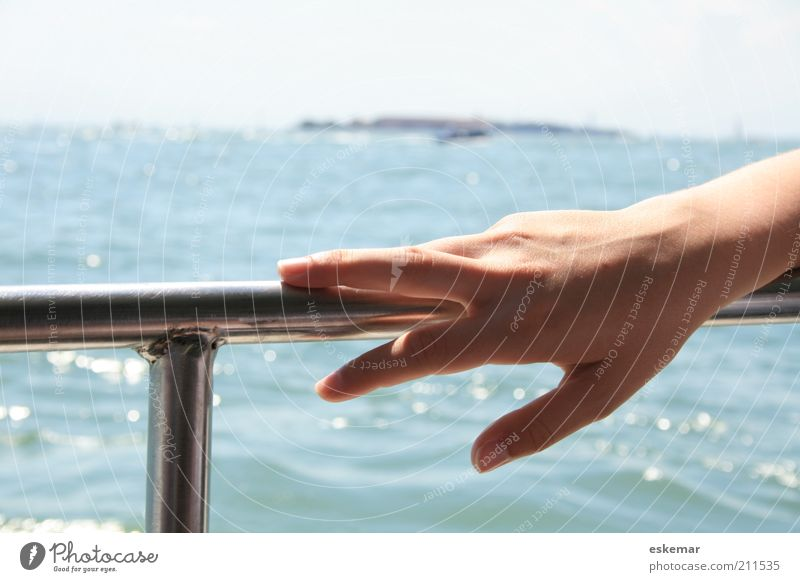 hand Elegant Vacation & Travel Summer Ocean Island Feminine Woman Adults Hand Fingers Water Beautiful weather Lake Venice Ferry Watercraft To hold on Blue