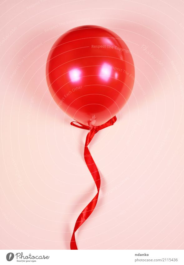 Red balloon on a red ribbon Colour Joy Feasts & Celebrations Pink Decoration Birthday String Balloon Toys Surprise Festive Guest Anniversary