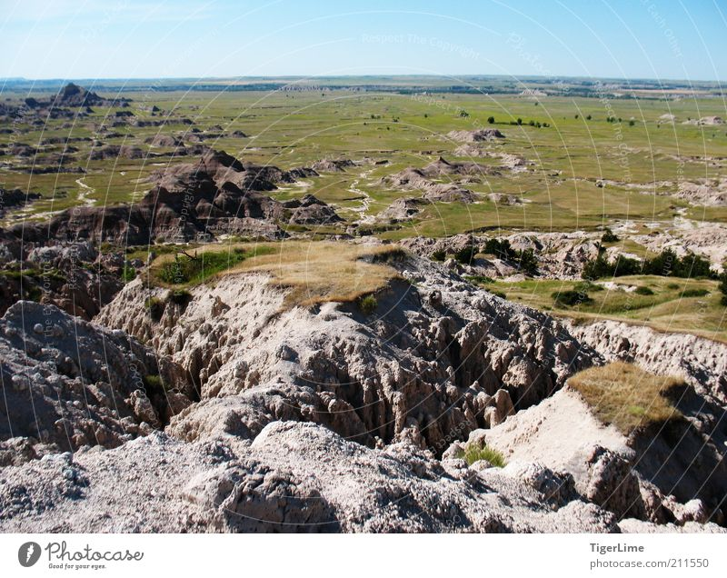 Badlands' End Environment Nature Landscape Earth Cloudless sky Horizon Summer Beautiful weather Warmth Grass Bushes Hill Rock Mountain Far-off places Free Hot