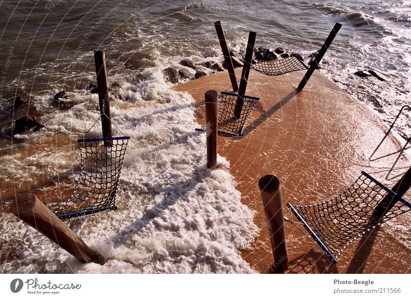 Water Ocean Lake Waves Wind Baltic Sea Dusk Surf Pole White crest Hammock Resting place Splash of water Kellenhusen