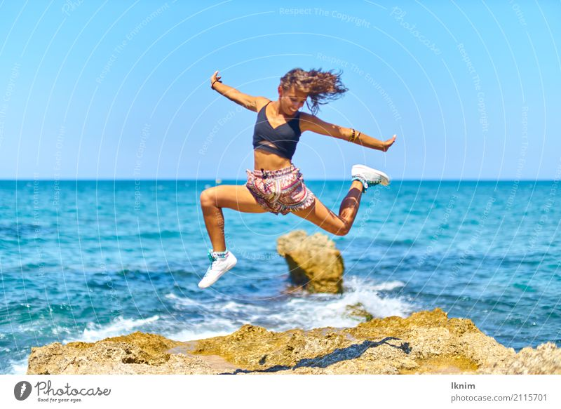 summer joy Life Well-being Vacation & Travel Tourism Trip Adventure Far-off places Freedom Summer Summer vacation Sun Beach Ocean Feminine Young woman