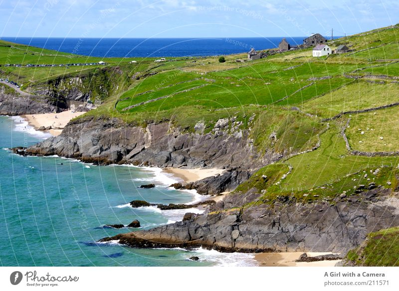 Nature Beautiful Ocean Green Blue Summer Beach Grass Landscape Moody Coast Waves Horizon Fresh Tourism Vantage point