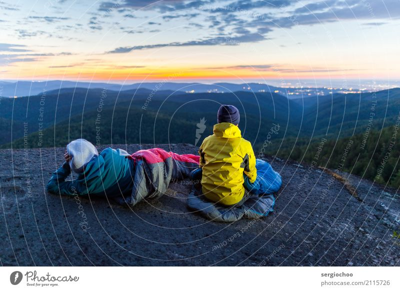 contemplation Hiking Climbing Woman Adults Man Friendship Couple 2 Human being 18 - 30 years Youth (Young adults) Nature Landscape Sky Clouds Night sky Sunrise