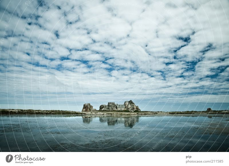 home squeeze home Nature Summer Rock Coast House (Residential Structure) Hut Le Gouffre Stone Blue Loneliness Between Middle Cramped Sky Clouds Reflection