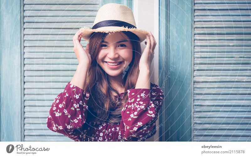 beautiful young asian girl have a happy time alone Beverage Lifestyle Joy Happy Beautiful Face Calm Summer Business Woman Adults Park Street Smiling Natural New