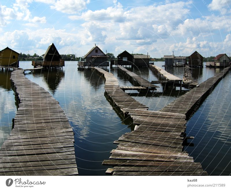 men's dreams Fishing village Small Town Port City Populated House (Residential Structure) Hut Building Architecture Lanes & trails Bridge Wood Water