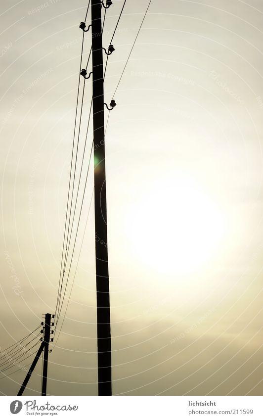 Overhead line mast in backlighting Telecommunications Solar Power Sky Sun Sunlight Weather Future Telegraph pole Transmission lines Electricity pylon