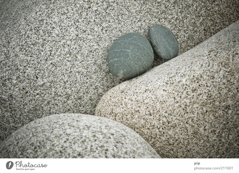 stone on stone Nature Elements Rock Stone Gray Attachment Together 2 Small Round Granite Cervice Gravel In pairs Firm Erosion Colour photo Subdued colour