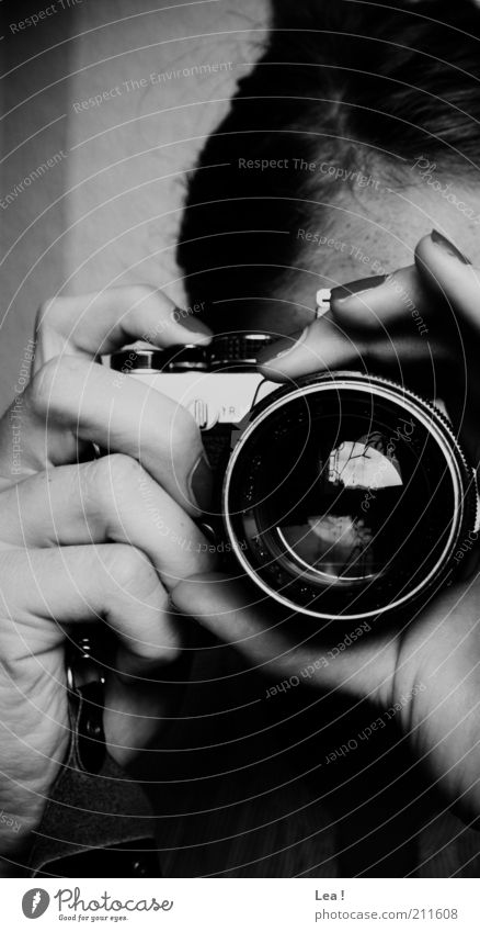 Human being Hand Art Observe Camera Concentrate Black & white photo Watchfulness Photographer Take a photo Lens Objective Dark-haired