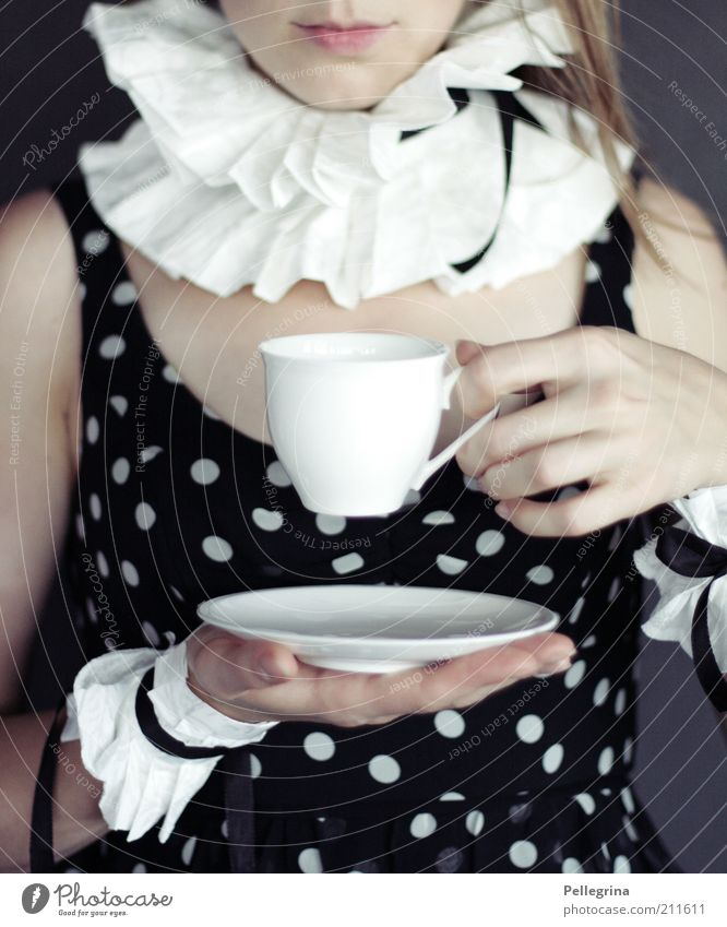 Human being Youth (Young adults) Hand Adults Feminine Fashion Mouth Fingers Esthetic 18 - 30 years Dress Lips Carnival costume Spotted Collar Coffee cup