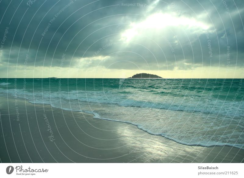 Beach Vacation & Travel Ocean Clouds Far-off places Landscape Coast Rain Bright Waves Wind Wet Horizon Trip Island Perspective