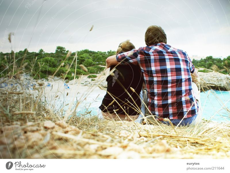 ... Human being Masculine Couple Partner Adults 2 Environment Landscape Summer Coast Clothing Shirt Blonde Observe Communicate Sit Free Happy Cuddly Moody