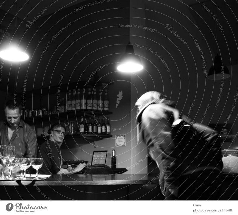 Human being Dark Wall (building) Moody Lamp Work and employment Glass Room Interior design Information Technology Bar Restaurant Bottle Counter Headphones