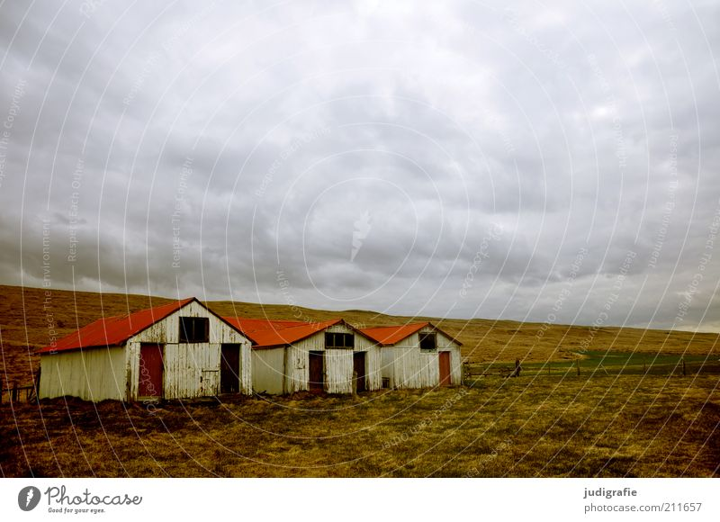 Nature Sky Calm House (Residential Structure) Clouds Far-off places Dark Meadow Building Landscape Moody Environment Threat Climate Living or residing