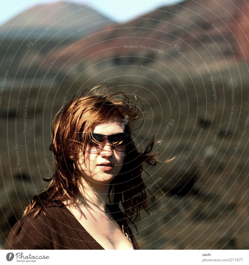- Hair and hairstyles Mountain Human being Feminine Young woman Youth (Young adults) Head 1 18 - 30 years Adults Landscape Volcano National Park of Timanfaya
