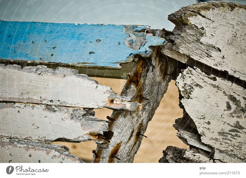 rear leak Navigation Fishing boat Rowboat Hollow Nail Varnish Wood Old Broken Trashy Blue White Bizarre Decline Transience Time Destruction Wooden board
