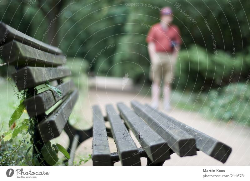 :: 100 :: chilloutzone Human being Masculine Adults Life Bench Break Park bench Relaxation Hat Wooden bench Lanes & trails To go for a walk Colour photo