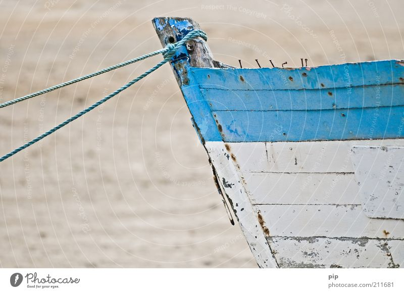 can no longer Navigation Fishing boat Sailboat Watercraft Nail Rope Wood Old Broken Blue White Derelict Wreck Stranded Varnish Ocean Fishery Wooden board