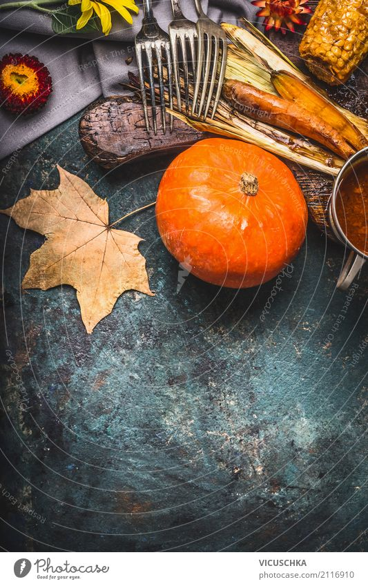 Healthy Eating Leaf Winter Food photograph Yellow Autumn Background picture Style Design Copy Space Nutrition Table Kitchen Vegetable