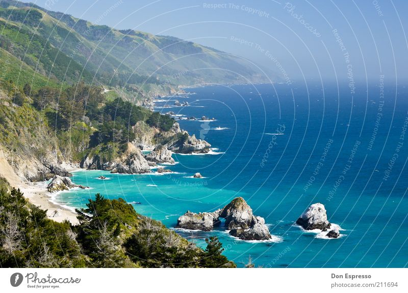 Nature Water Ocean Blue Summer Beach Vacation & Travel Calm Far-off places Mountain Freedom Landscape Coast Background picture Rock Trip