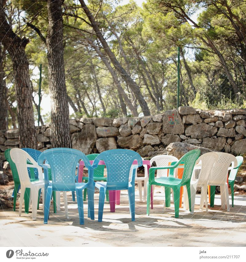 White Tree Green Blue Plant Wall (building) Wall (barrier) Empty Chair Plastic Fence Muddled Untidy Multicoloured