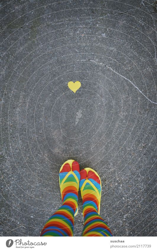Heart and feet Legs Feet Footwear Stockings Striped Crazy obliquely Strange Pippi Longstocking Multicoloured Yellow Red Cyan Flip-flops Exterior shot Street