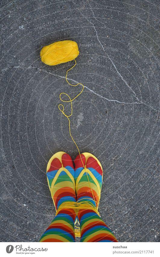 Street Yellow Legs Feet Footwear Stand Crazy Asphalt Stockings Strange Striped Wool Handcrafts Knit Flip-flops Bind