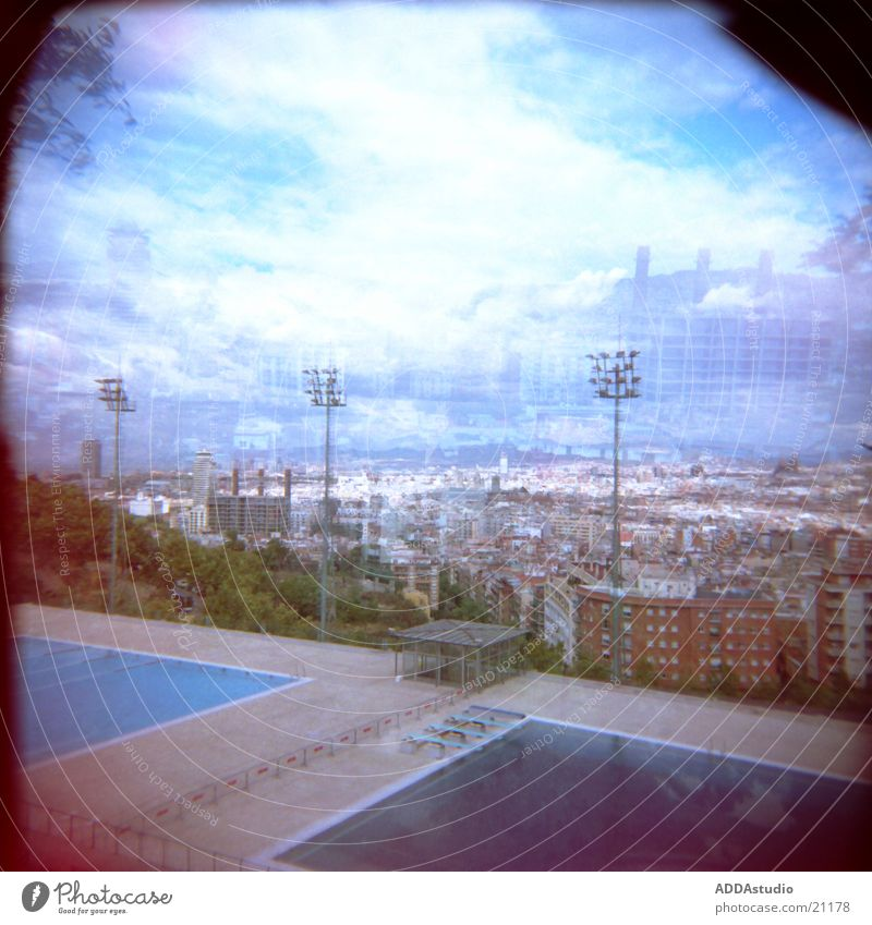 above the roofs of barcelona Panorama (View) Town Barcelona Diving pool Europe Olympics city views Large