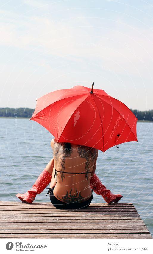 Waiting for Godot Woman Adults Back Nature Water Sky Summer Beautiful weather Lakeside Bikini Rubber boots Umbrella Sit Brash Free Red Hope Belief Boredom