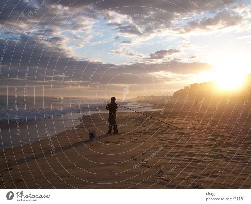 Sky Sun Ocean Beach Clouds Sand Waves Fishing (Angle) Fisherman