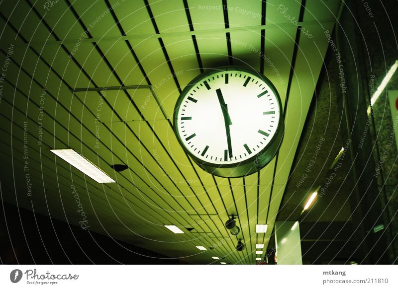 clock at platform Green Vacation & Travel Loneliness Clock Transport Threat Creativity Mysterious Underground Train station Sightseeing Night Platform