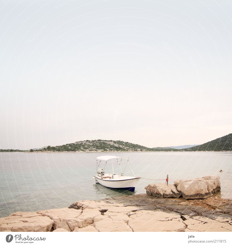 Sky Ocean Summer Joy Vacation & Travel Mountain Stone Landscape Coast Rock Island Hill Bay Watercraft Croatia Drop anchor