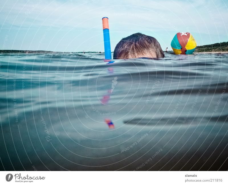 Child Nature Vacation & Travel Water Summer Ocean Joy Environment Boy (child) Playing Swimming & Bathing Lake Head Horizon Air Infancy