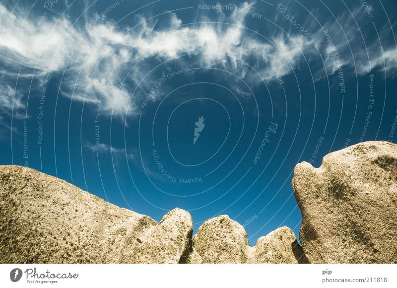 clouds scratches Environment Nature Air Clouds Beautiful weather Wind Rock Mountain Peak Stone Tall Blue Bizarre Climate Far-off places Infinity Cirrus Granite