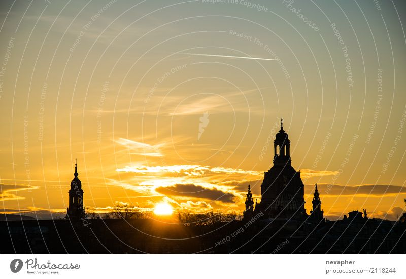 Silhouette Church of Our Lady Sky Sun Sunrise Sunset Sunlight Beautiful weather Dresden Downtown Dome Tourist Attraction Landmark Monument Frauenkirche Observe