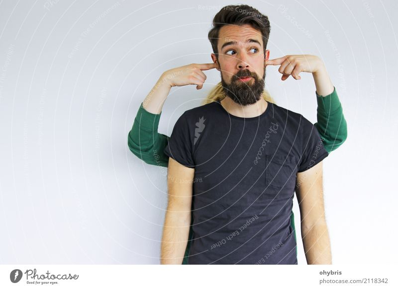 muting Human being Masculine Couple Partner Facial hair 2 18 - 30 years Youth (Young adults) Adults Touch Discover Listening Secrecy Curiosity Inhibition