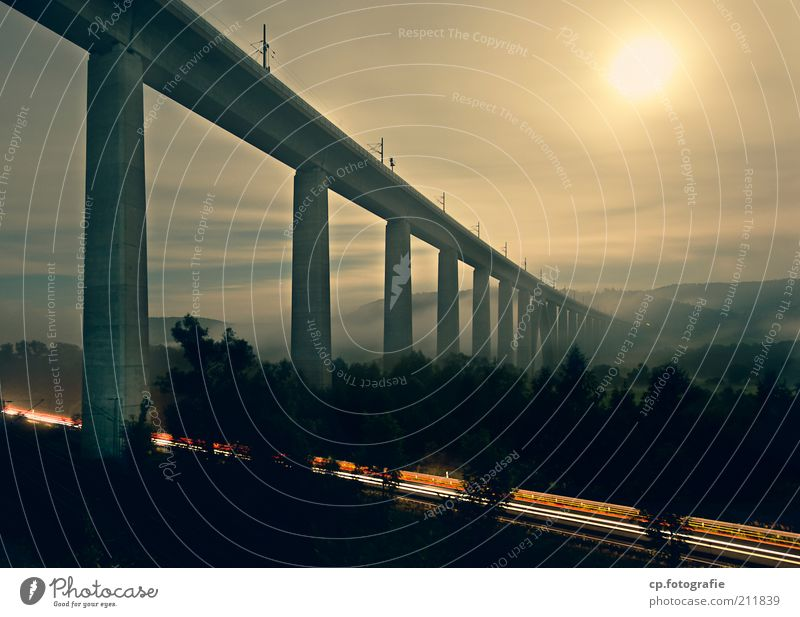 Sky Summer Far-off places Road traffic Fog Large Concrete Transport Tall Bridge Modern Esthetic Future Night sky Long Moon