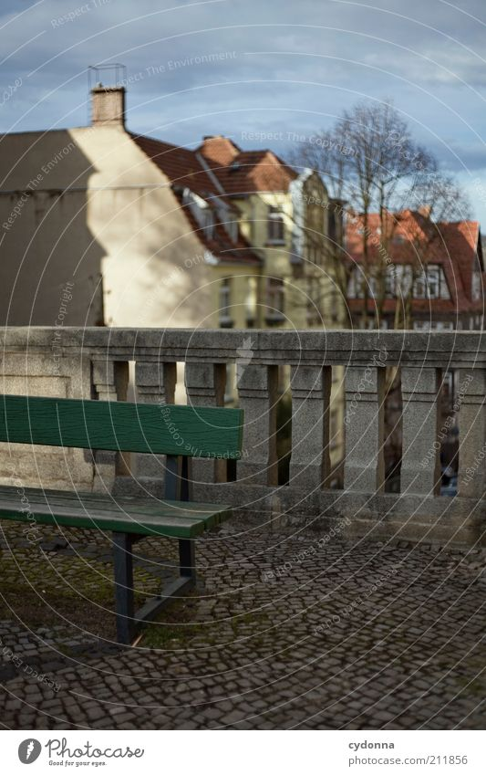 bench Calm Town Old town House (Residential Structure) Architecture Idea Life Break Stagnating Time Bench Handrail Paving stone Vantage point Eisenach Winter
