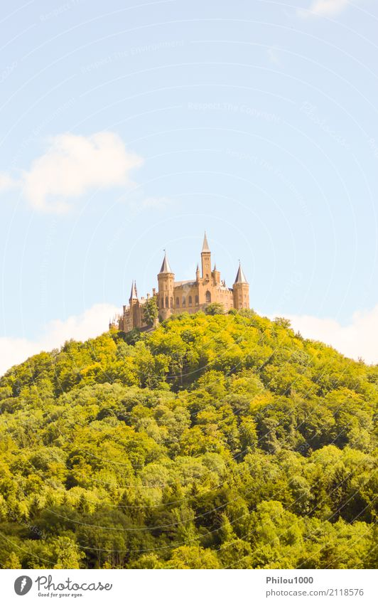 View of the castle of Hohenzollern Sky Nature Vacation & Travel Old Blue Summer Town Landscape House (Residential Structure) Clouds Mountain Architecture