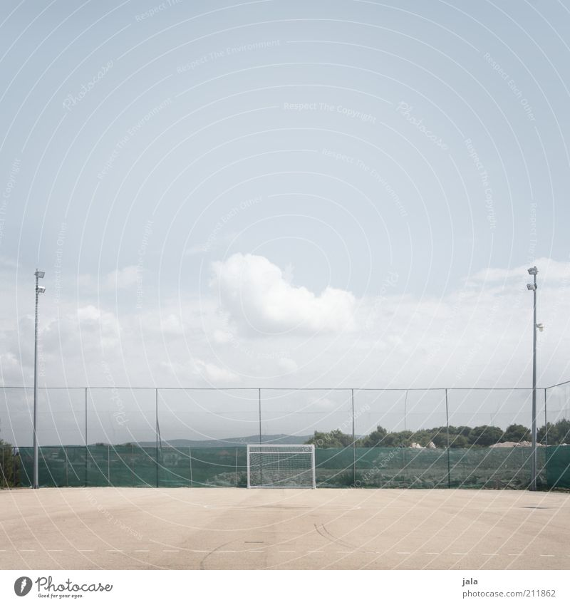 kick off Leisure and hobbies Sports Ball sports Soccer Football pitch Goal Clouds Fence Large Bright Colour photo Subdued colour Exterior shot Deserted